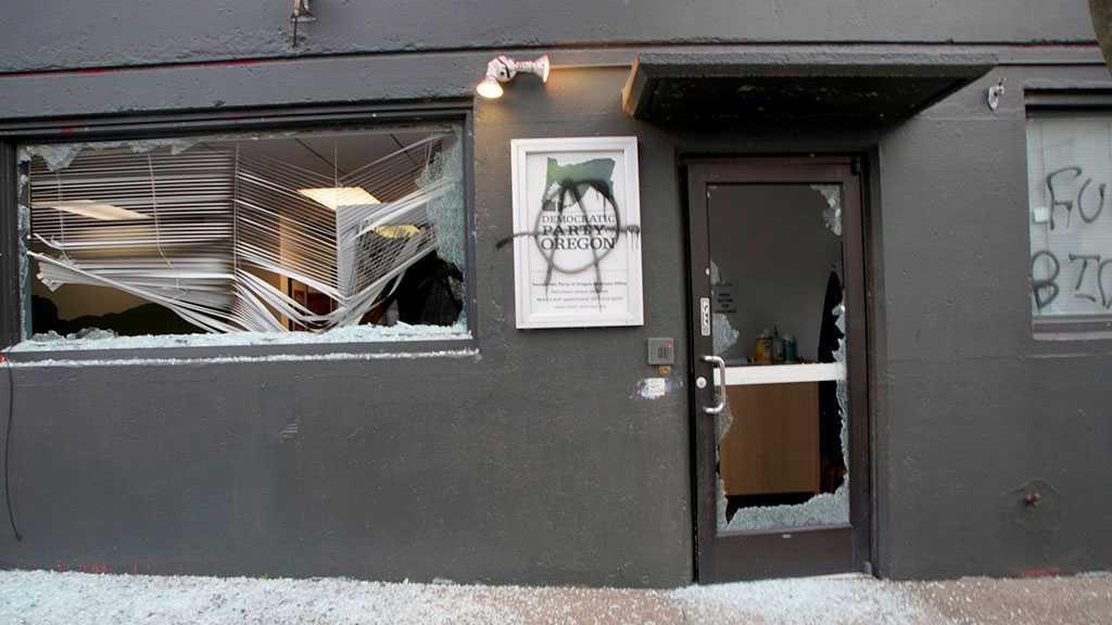 Antifa Congratulates Biden by Smashing Windows of Dems HQ in Portland