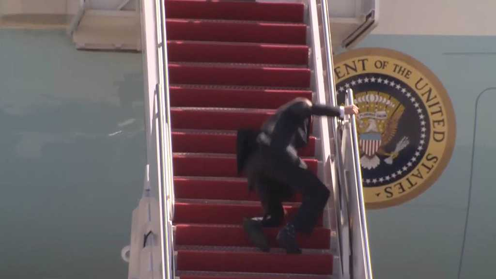 Joe Biden Falls on Air Force One's Steps