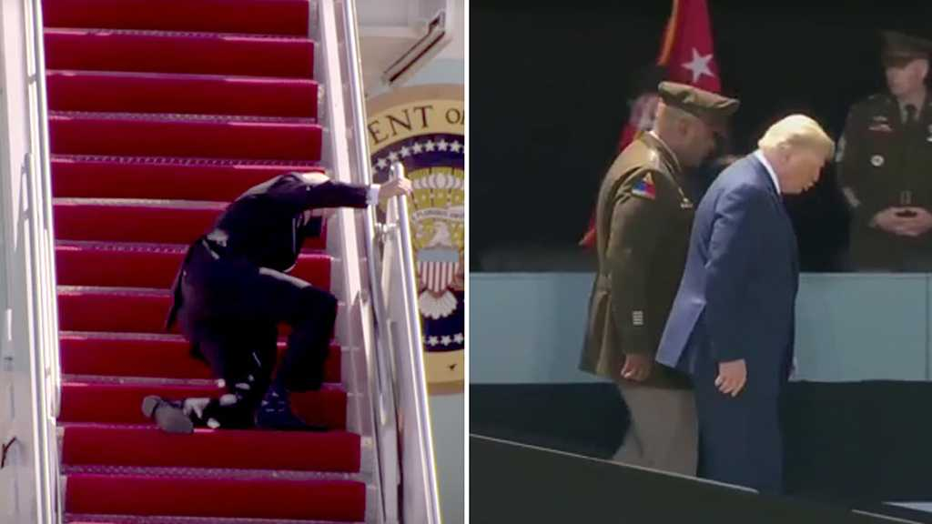 "Trump Says He ""Expected"" Biden's ""Terrible Tumble"" on Air Force One Stairs"