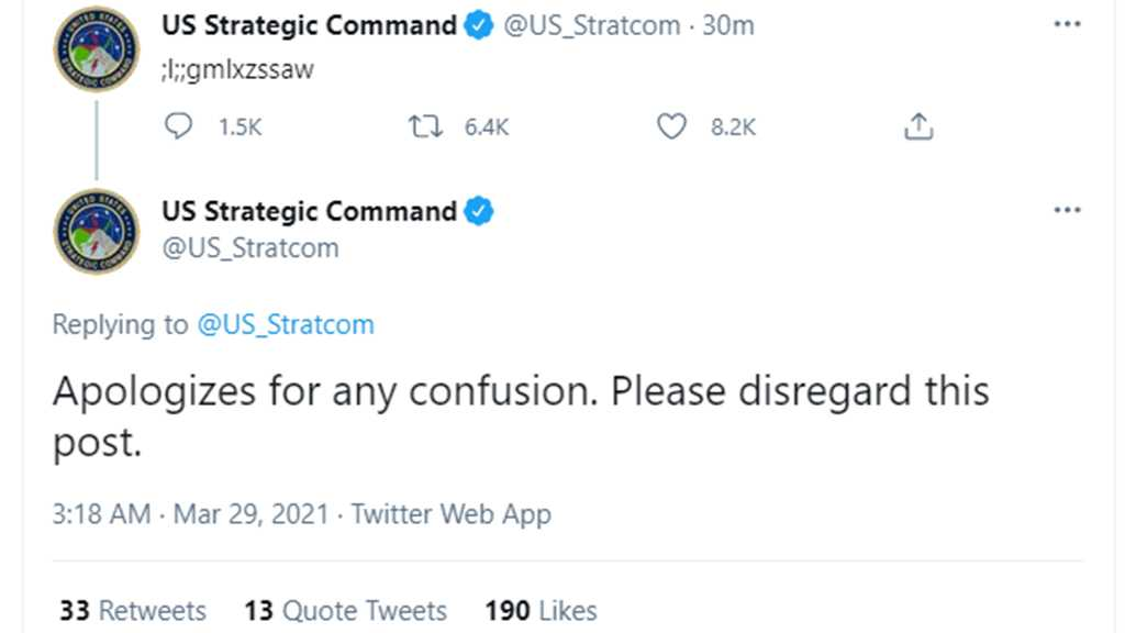 US Strategic Command Offers 'Apologizes' After Posting Gibberish