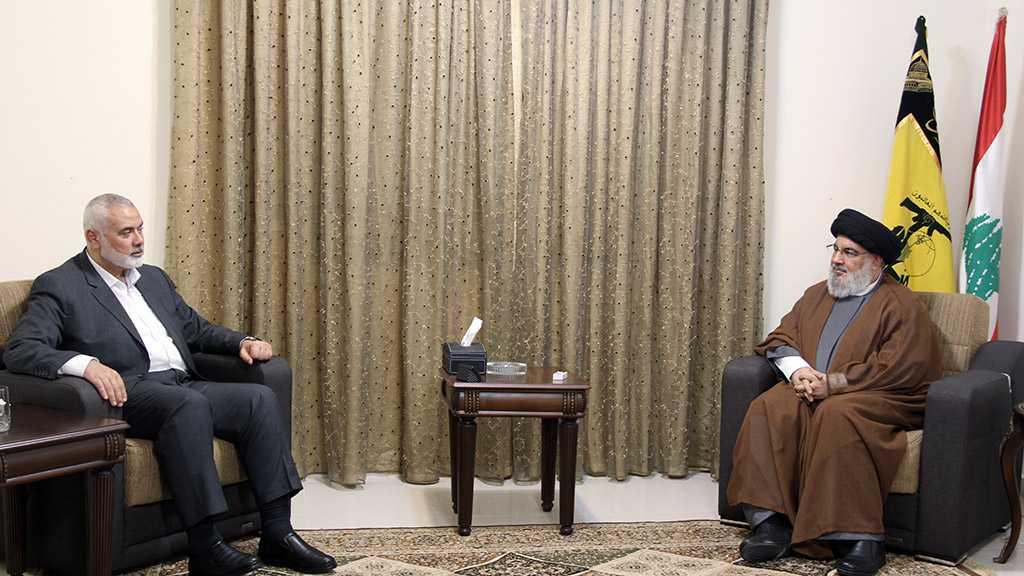 Sayyed Nasrallah Receives Haniyeh, Both Leaders Stress on Depth of Hezbollah-Hamas Relationship