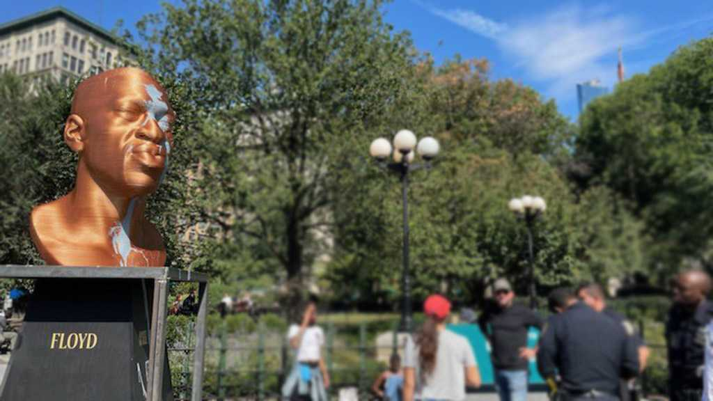 George Floyd Statue Vandalized by Paint in NYC