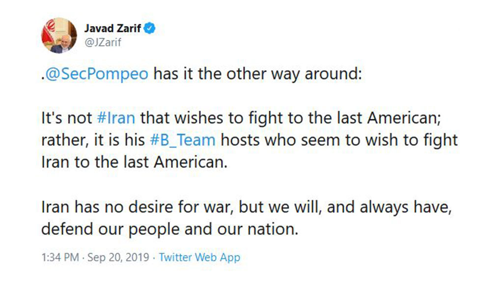 Zarif: US Allies Want to Fight Iran to the Last American