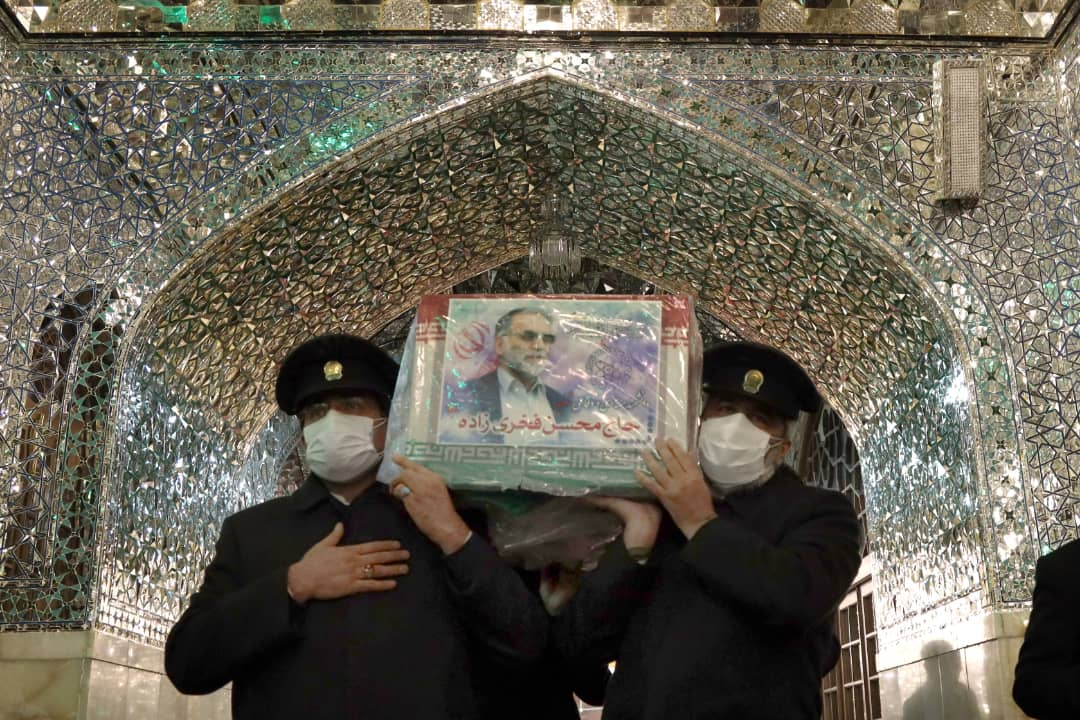 Martyr Fakhrizadeh at Shrine of Imam Reza [AS] Before He Is Laid to Rest